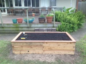 Timber raised garden bed installed by Lucy